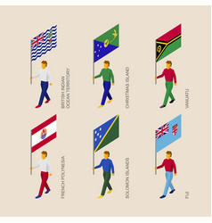 set of isometric 3d people with flags oceania vector image