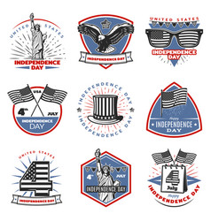 Colored vintage independence day emblems set vector