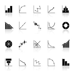 Diagram and graph icons with reflect on white vector