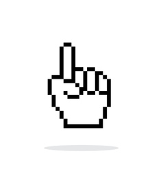 One finger pixel hand cursor icon on white vector