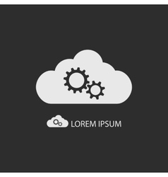 White cloud with gear wheels on dark grey vector