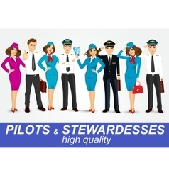 Set of pilots and two stewardesses in uniform vector