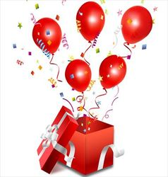 Balloons out of the open gift box vector image
