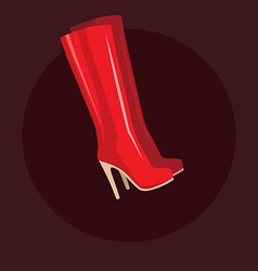 Red long women boots vector image