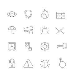 Protection and security outline icons vector