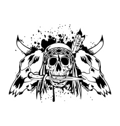 Skulls bull and skull indian vector