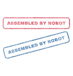 Assembled by robot textile stamps vector