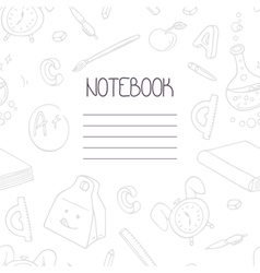 Back to school monochrome doodle notebook design vector image