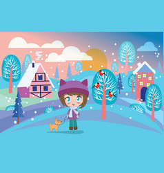 beautiful winter landscape with pretty girl and vector image vector image