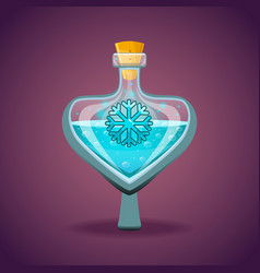 Bottle of magic elixir with snowflake vector