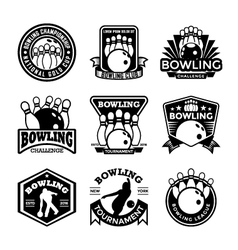 Bowling badges vector