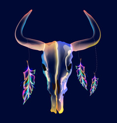Bright bull skull with feathers over dark vector