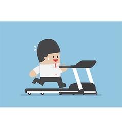Businessman running on treadmill vector