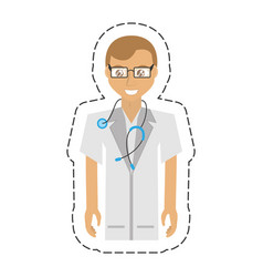 Cartoon doctor man glasses coat and stethoscope vector