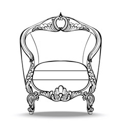 Classic imperial baroque round armchair with vector