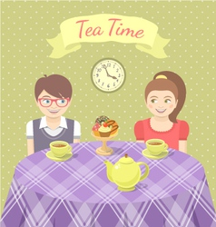 Couple in love drinking tea vector image