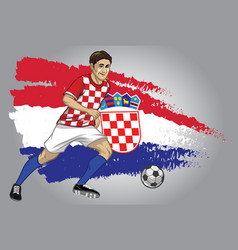croatia soccer player with flag as a background vector image vector image