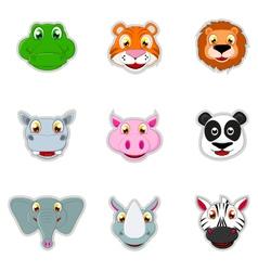 cute animal head icon vector image