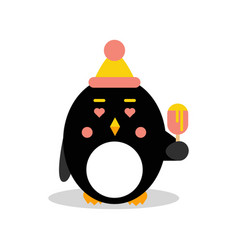 Cute cartoon penguin character wearing hat and vector