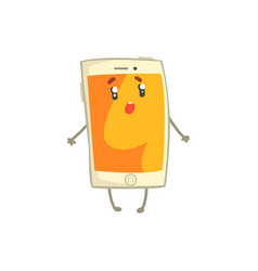 cute confused smartphone character with an orange vector image