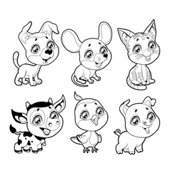 Cute farm animals in black and white vector image vector image