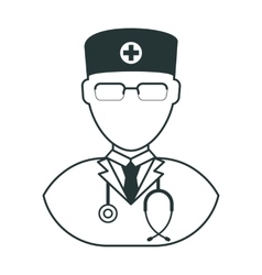 doctor man black icon vector image vector image