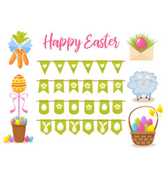 Easter party decoration elements eggs vector