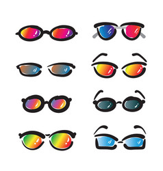 group of hand drawn sunglasses on white background vector image vector image