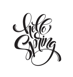 Hello Spring phrase lettering Hand drawn vector image vector image