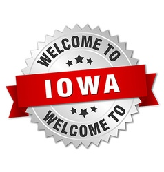 Iowa 3d silver badge with red ribbon vector
