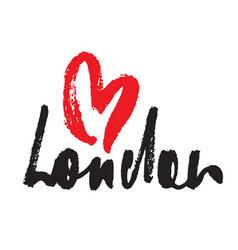London inscription with heart vector