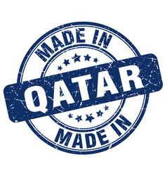 Made in qatar blue grunge round stamp vector