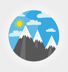 Mountains under the sun vector