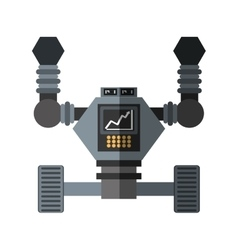 Robot futuristic analytics screen wheel shadow vector