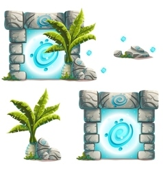 set of objects palm a magical portal rock vector image