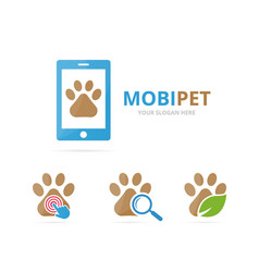Set of paw logo combination pet and mobile symbol vector