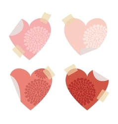 Set of post self stick notes papers heart shape vector