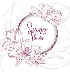 Sketch linear magnolia blossom vector