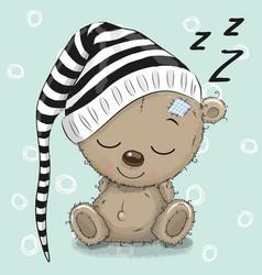 sleeping cute teddy bear in a hood vector image