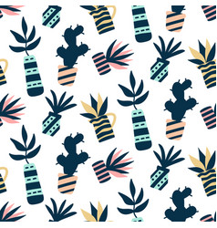 Succulents plants colorful seamless pattern vector