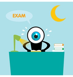 The blue eye reading book for exam vector image vector image