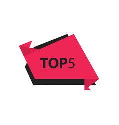 Top5 text in label black pink vector