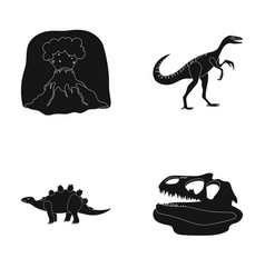 volcanic eruption gallimimus stegosaurus vector image vector image