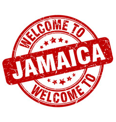 Welcome to jamaica red round vintage stamp vector