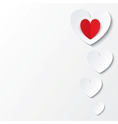 White paper hearts Valentines day card on white vector image vector image
