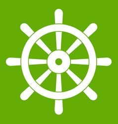 wooden ship wheel icon green vector image