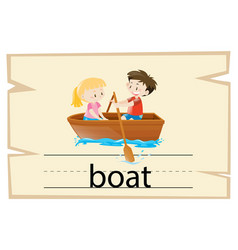 Wordcard template for word boat vector