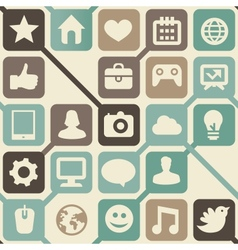 Seamless pattern with social media icons vector