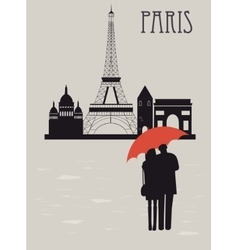 Man and woman with umbrella in paris vector