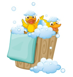 Duckling in a foam bucket vector